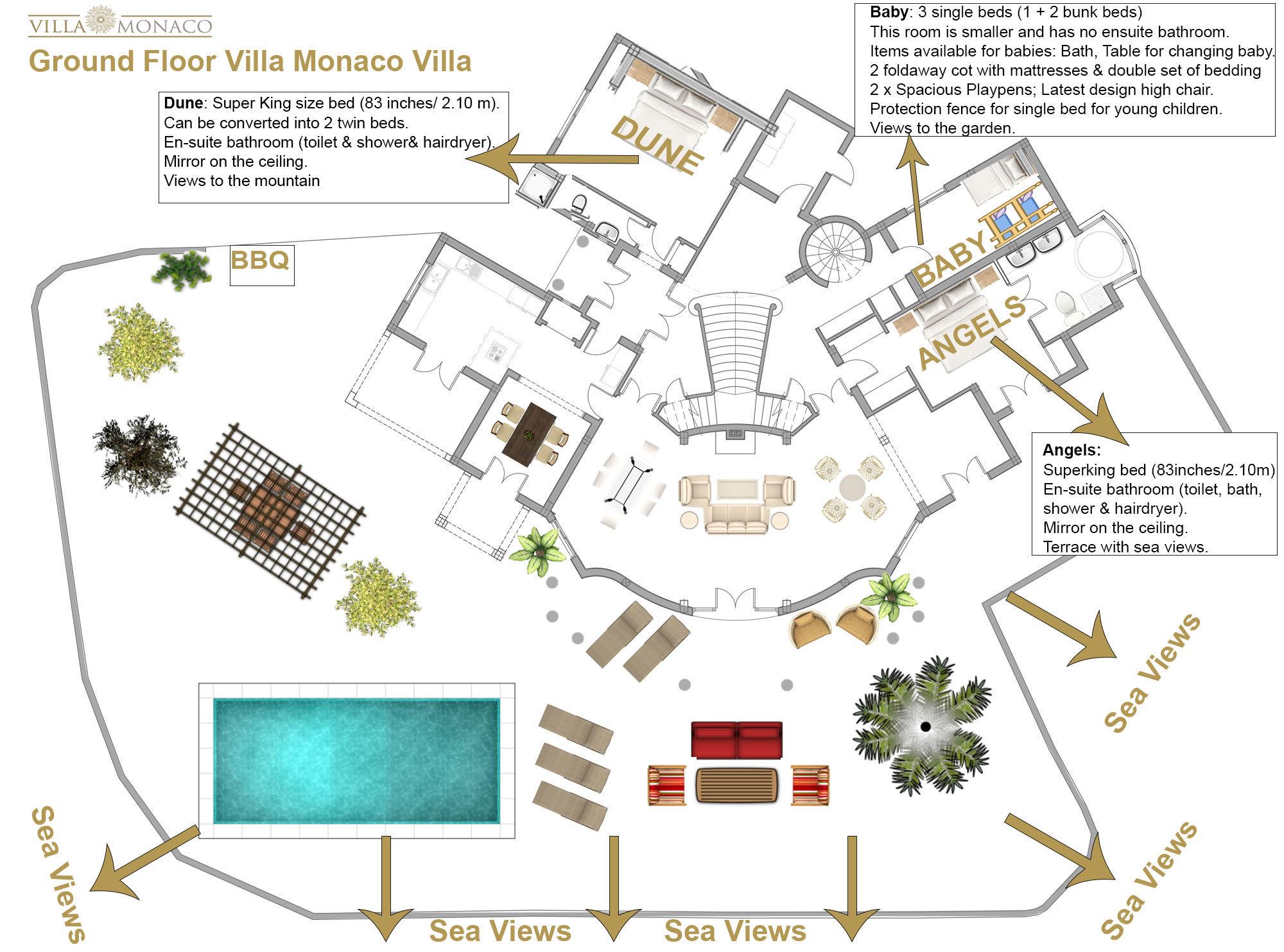 Villa monaco adeje tenerife luxury holiday rentals sea views private pool floor plans for Indian villa designs floor plan layout